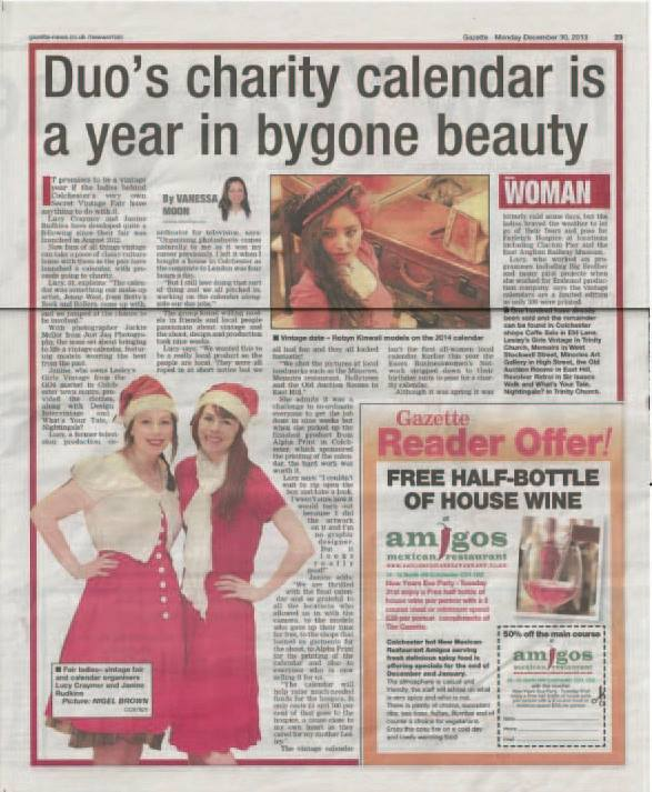Gazette coverage of the charity calendar we commissioned