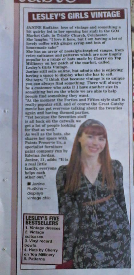 Gazette article on Lesley's Girls new shop