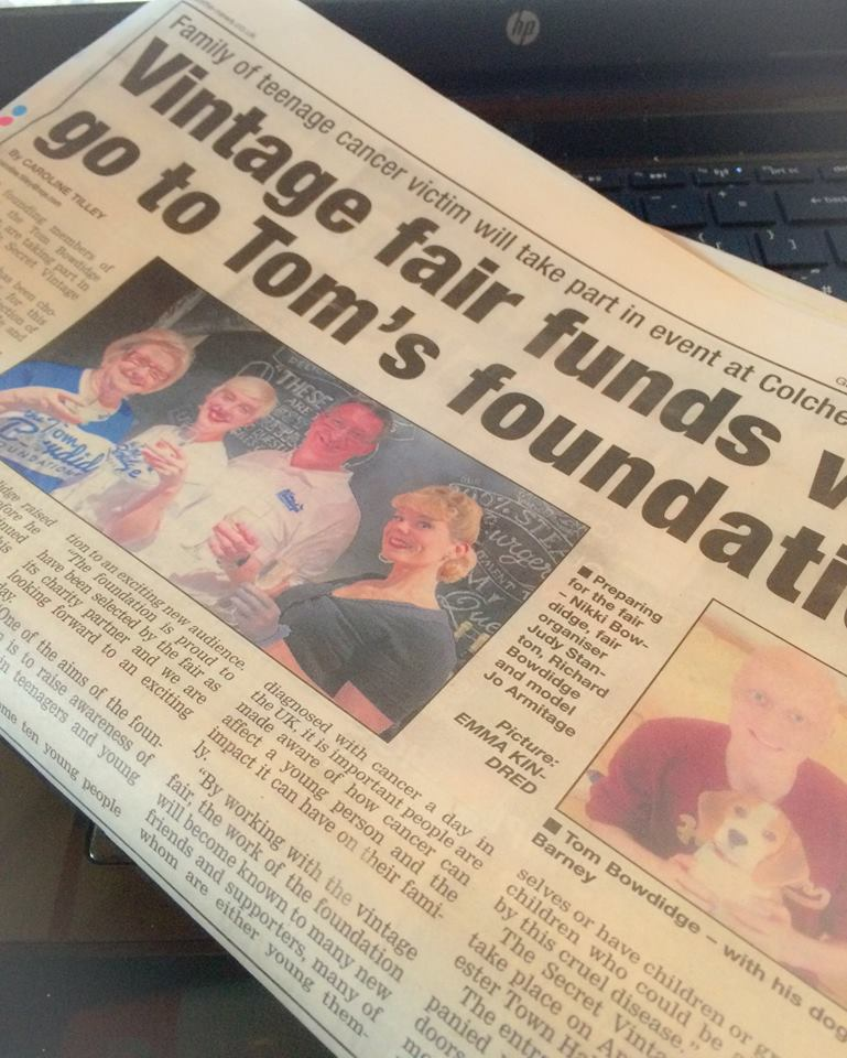 Coverage on raising money for Tom Bowdidge Foundation